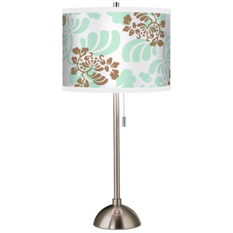 Classic Mist and Taupe Giclee Brushed Steel Table Lamp
