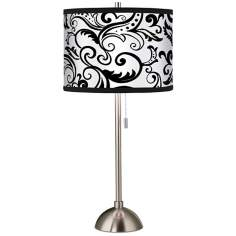 Regency Black Giclee Brushed Steel Table Lamp