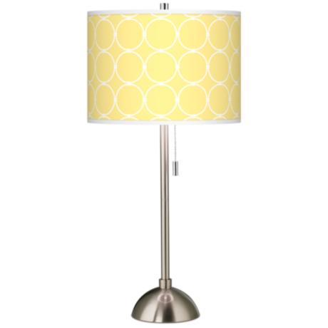 Yellow giclee shade table lamp