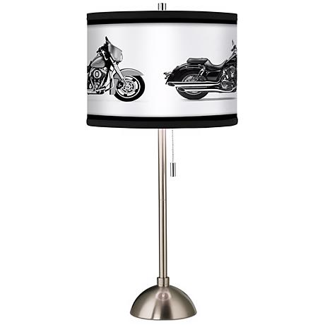 Hit the Road Custom Giclee Brushed Steel Table Lamp