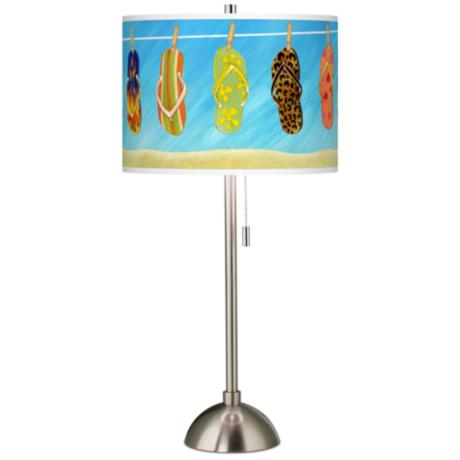 Summer Flip-Flops Giclee Brushed Steel Table Lamp