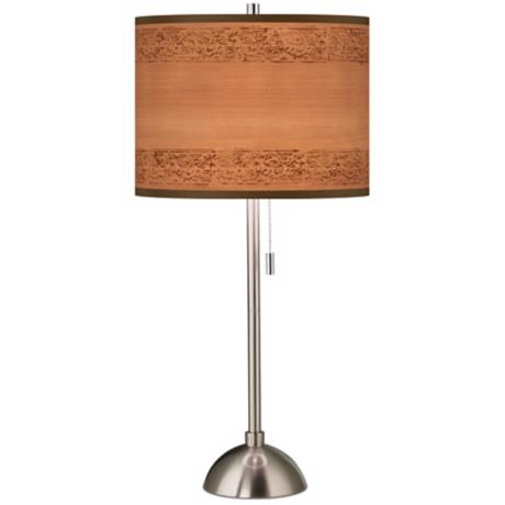 Paisley Trim Brushed Steel Contemporary Table Lamp