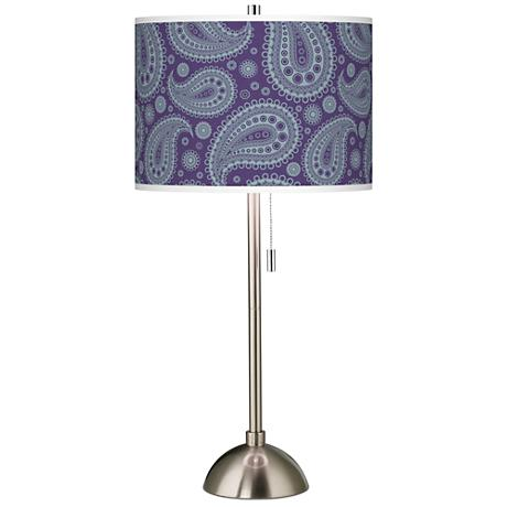 Purple Paisley Linen Giclee Contemporary Table Lamp