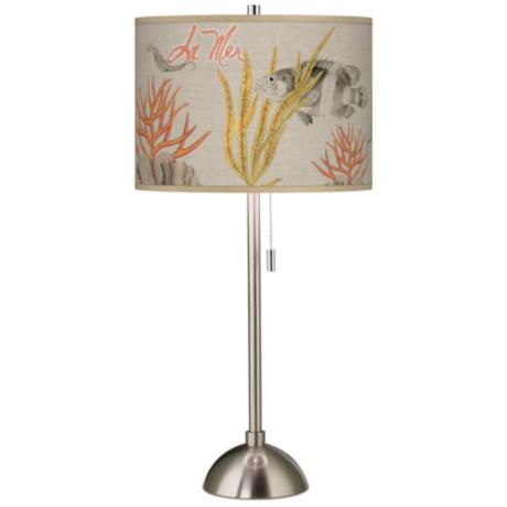 La Mer Coral Giclee Contemporary Table Lamp