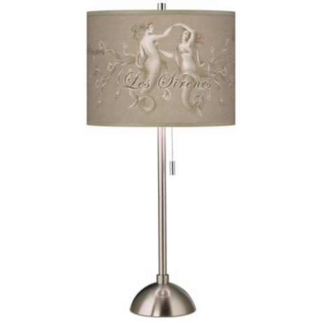 Les Sirenes Natural Giclee Contemporary Table Lamp