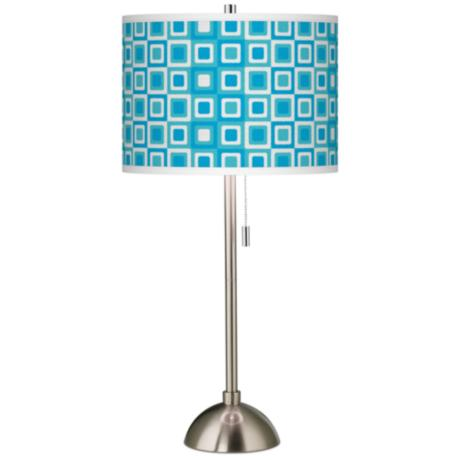 Blue Boxes Linen Giclee Contemporary Table Lamp