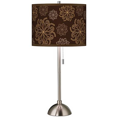 Chocolate Blossom Linen Giclee Contemporary Table Lamp