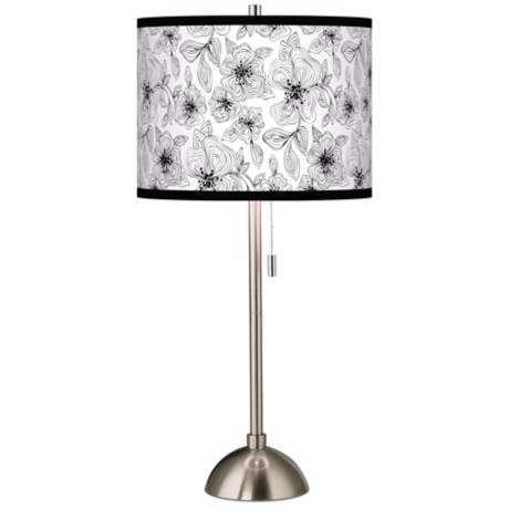 Stacy Garcia Linear Floral Giclee Contemporary Table Lamp