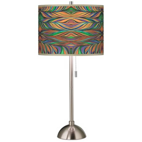 Exotic Peacock Giclee Shade Contemporary Table Lamp