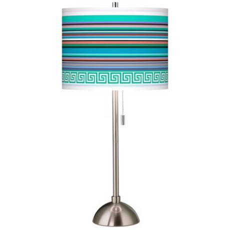 Key West Party Time Giclee Brushed Steel Table Lamp