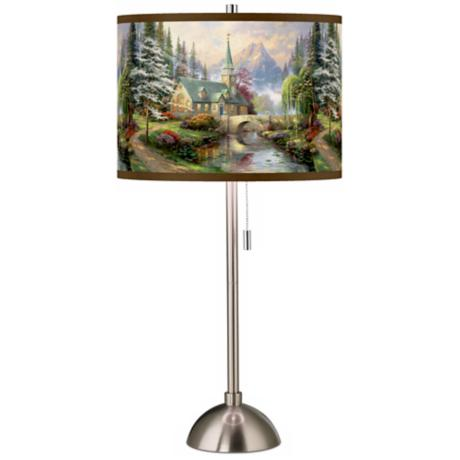 Thomas Kinkade Dogwood Chapel Giclee Shade Table Lamp