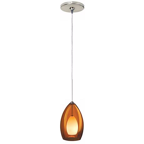 Fire Satin Nickel Amber Glass Tech Lighting Mini Pendant