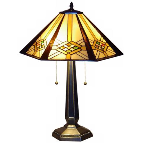 Hex Mission Tiffany Style Table Lamp