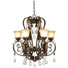 Valentina Iron Leaf Collection Six Light Chandelier