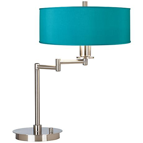 Teal Blue Faux Silk CFL Swing Arm Desk Lamp