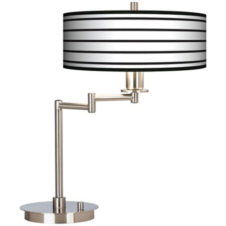Black Parallels On White Giclee CFL Swing Arm Desk Lamp