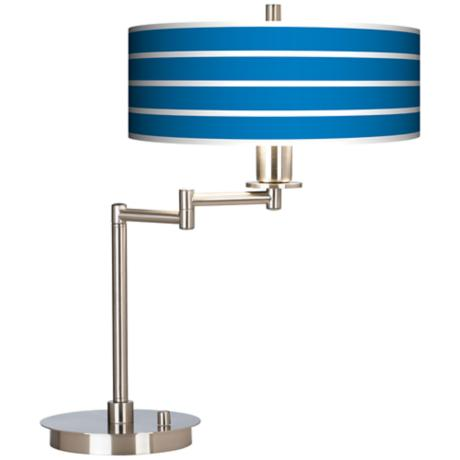 Bold Blue Stripe Giclee CFL Swing Arm Desk Lamp