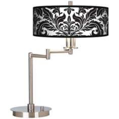 Black Tapestry Giclee CFL Swing Arm Desk Lamp