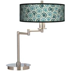 Blue/Green Circles Giclee CFL Swing Arm Desk Lamp