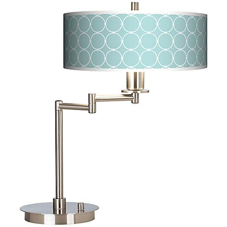 Aqua Interlace Giclee CFL Swing Arm Desk Lamp