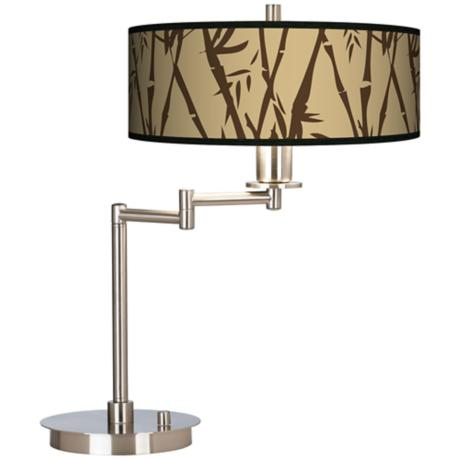 Earth Bamboo Giclee CFL Swing Arm Desk Lamp