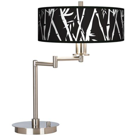 Night Bamboo Giclee CFL Swing Arm Desk Lamp