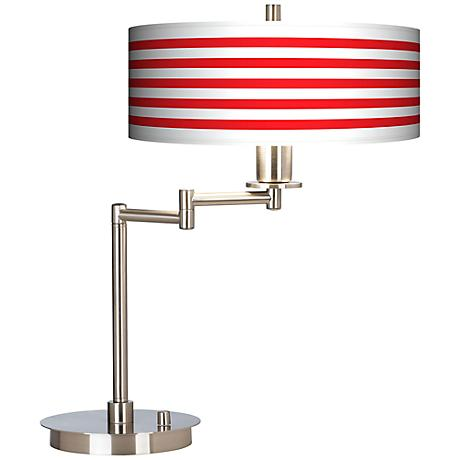 Red Horizontal Stripe Giclee CFL Swing Arm Desk Lamp
