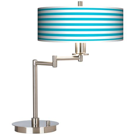 Aqua Horiz. Stripe Giclee CFL Swing Arm Desk Lamp