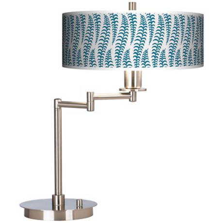 Stacy Garcia Fancy Fern Peacock Giclee CFL Swing Arm Desk Lamp