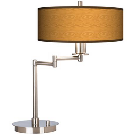 Wood Grain Energy Efficient Swing Arm Desk Lamp