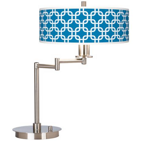 Blue Lattice Giclee CFL Swing Arm Desk Lamp