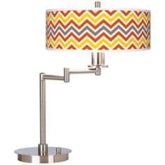 Flame Zig Zag Giclee CFL Swing Arm Desk Lamp