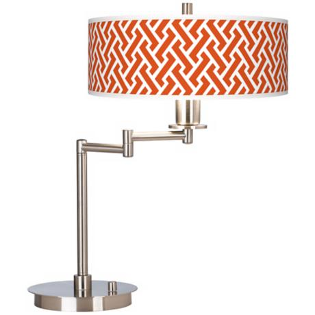 Red Brick Weave Giclee CFL Swing Arm Desk Lamp