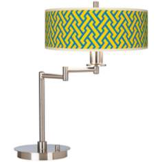 Yellow Brick Weave Giclee CFL Swing Arm Desk Lamp