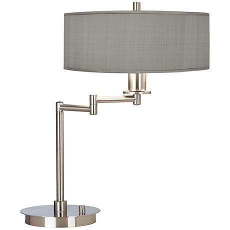 Gray Faux Silk CFL Swing Arm Desk Lamp