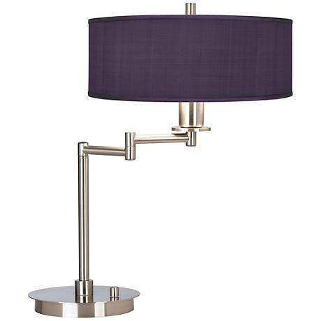 Eggplant Faux Silk CFL Swing Arm Desk Lamp