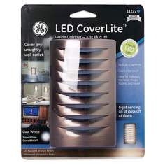 LED CoverLite Rubbed Bronze Finish Outlet Cover Night Light