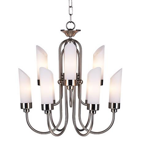 Possini Euro Design Brushed Steel and Opal Glass Chandelier