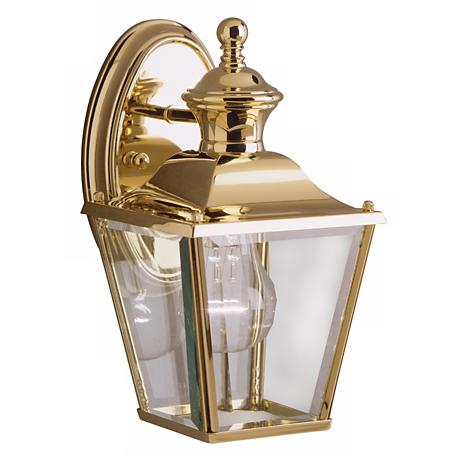 "Kichler Solid Brass Carriage 10"" High Outdoor Wall Light"