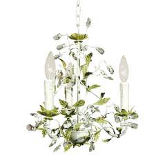 Antique Green White Leaf Clear Drops Chandelier