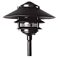 Three Tiered Black Outdoor Landscape Pagoda Light