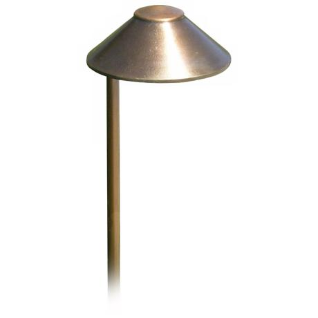 "Weathered Brass Hat 19"" High Low Voltage Landscape Light"