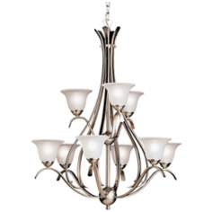 Dover Collection Brushed Nickel  Nine Light Chandelier