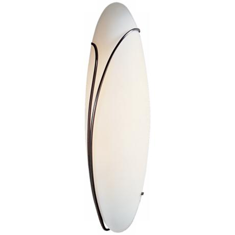 "Oval Reed Left Opal Glass 20"" High Wall Sconce"