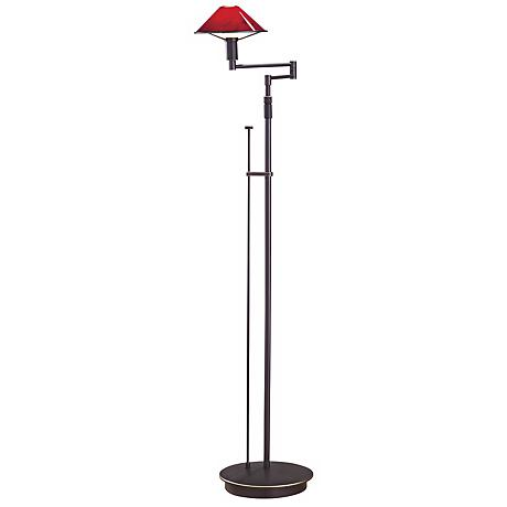 Holtkoetter Magna Red and Bronze Swing Arm Floor Lamp