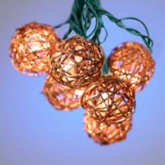 Rattan Ball Set of 10 String Lights