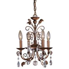"Belcaro Walnut 12 1/2"" Wide 4-Light Mini Chandelier"