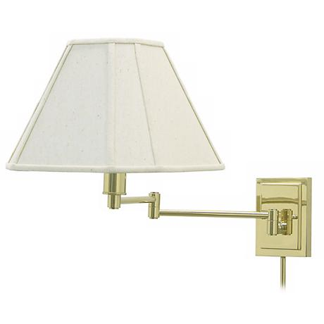 Brass With Beige Shade Plug-In Swing Arm Wall Lamp