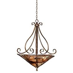 "Franklin Iron Works™ Amber Scroll 24 3/4"" Wide Pendant"