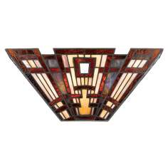 Craftsman Tiffany Style Valiant Bronze Pocket Wall Sconce